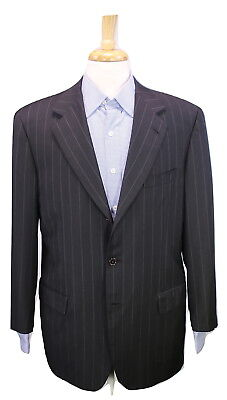 * BRIONI * Recent Black Pinstripe 3-Btn Luxury Wool Suit Blazer 42R