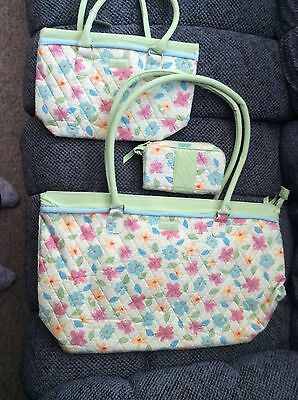 3 piece FLORAL BLOOMS TRAVEL SET Purse Overnight Cosmetic Bag Longaberger NEW