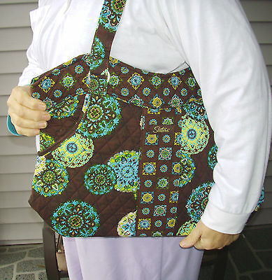 ADORN Turquoise & Brown Sisters STACIE Quilted PURSE Longaberger 15x13x5 New