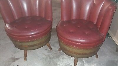 Mid Century Vintage Whiskey Barrel Chairs Vinyl Red