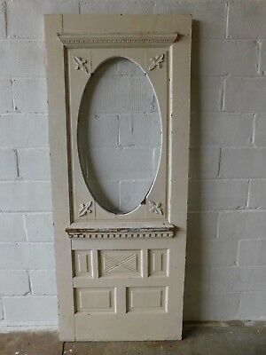 Antique Victorian Wood Oval Glass Entry Door - C. 1895 Architectural Salvage