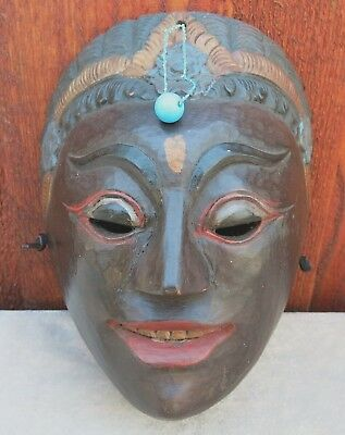 Vintage Wooden Tribal Mask Bali Indonesia VG Condition