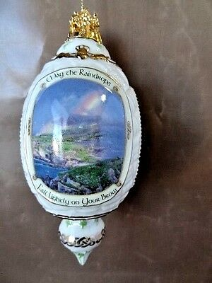 """1999 Irish Blessings Porcelain Ornament """"Raindrops"""" Sentiment Picture with Tag"""