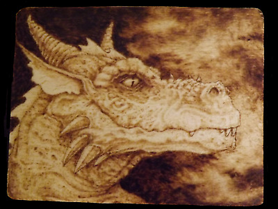 Pyrography Dragon, Original Fantasy Art 4.5x5.5 inches, Wood Burning art