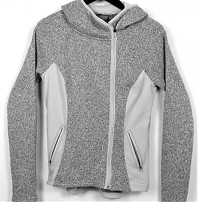 "Athleta Women's Small ""Stronger""  Hoodie Jacket Heather Gray Pleated New No Tags"