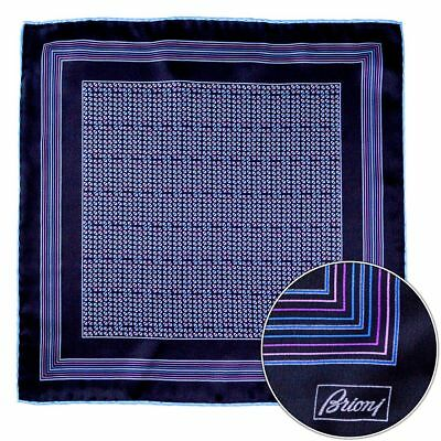 Men's BRIONI Black Pink Blue Geometric Hand Rolled Pocket Square Handkerchief