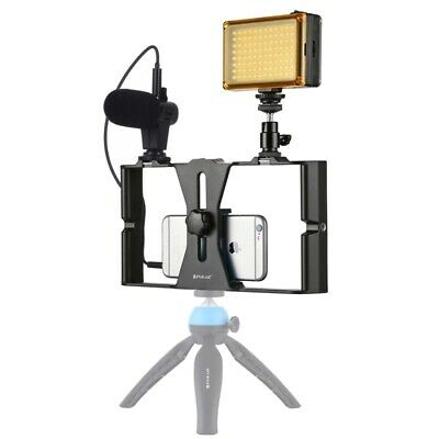 PULUZ Smartphone Video Rig + LED Light Microphone Kits For iPhone Samsung Sony