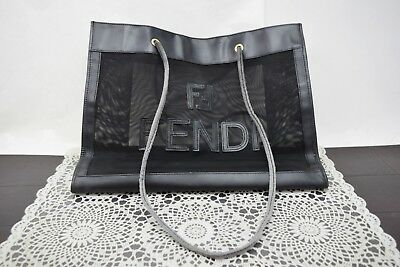 7180fbe355da ... real authentic fendi tote bag beach bag mesh black 45975 370b9 f9b29