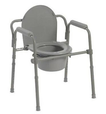 Helding Bedside Commode Seat with Commode Bucket Splash Guard and Handles Gray