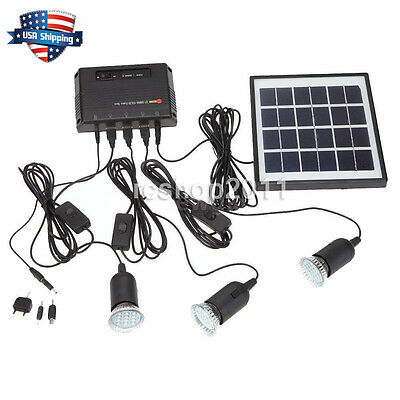 4W Outdoor Solar Power Panel LED Light Lamp Charger Garden Home System Kit USA