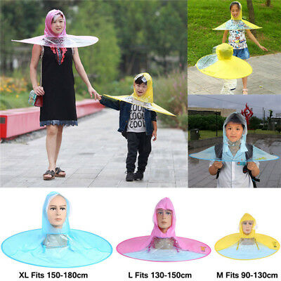 Creative Foldable Adults Children Raincoat Umbrella UFO Poncho Rain Hat Cape
