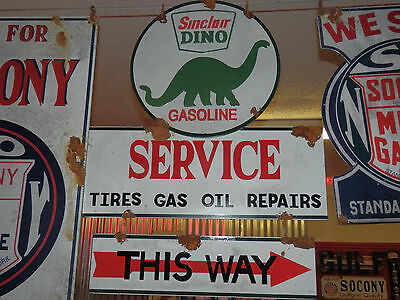Antique barn find style Sinclair Dino service station gas pump sign 2 piece sign