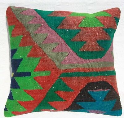 "TURKISH KILIM RUG PILLOW 16""x16"", KILIM RUG CUSHION Geometric Kilim Pillow Cover"