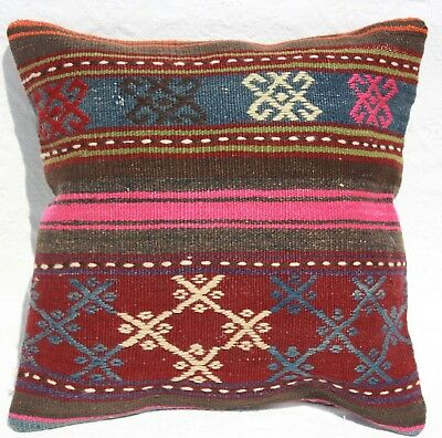 Turkish Kilim Pillow 16x16, Kilim Rug Cushion Cover 16x16, Striped, Red, Brown