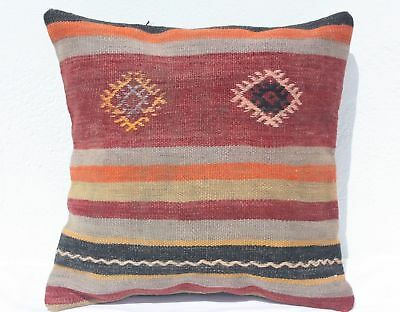 TURKISH KILIM PILLOW 16x16, KILIM RUG CUSHION, Geometric, Striped, Red