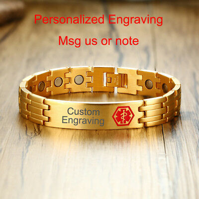 Men Medical Alert ID Health Bracelet Magnetic Therapy Personalized DIY Engraving