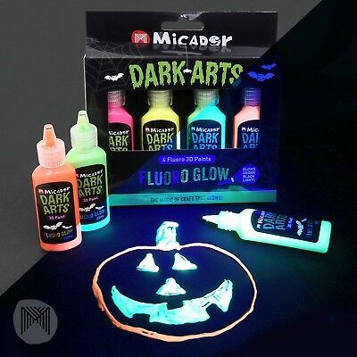 Micador Dark Arts Fluoro 3D Paint - 22ml, Pack 4