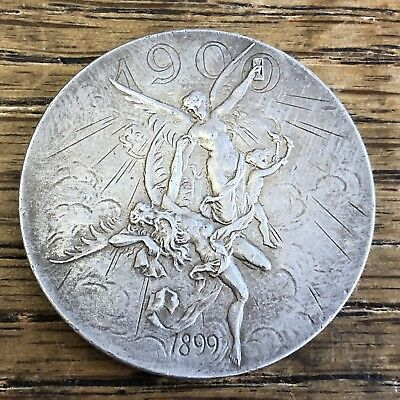 1900 GERMANY EMPIRE Nuremberg Silver NEW YEAR Medal Natural Patina BEAUTY!