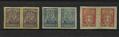LITHUANIA mixed collection, 1923 & 1927 issues, imperf pairs, mint MNH MUH