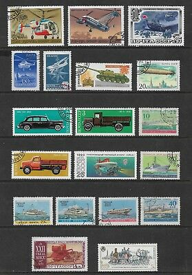 RUSSIA mixed collection No.58, Transport, incl Helicopters Ships Trucks Tank
