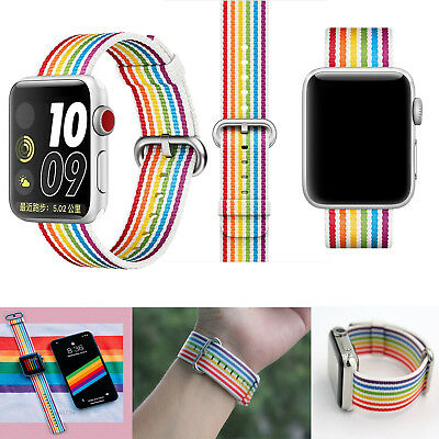 2018 Pride Edition Woven Nylon Band Rainbow Stripe For Apple Watch 42mm 38mm