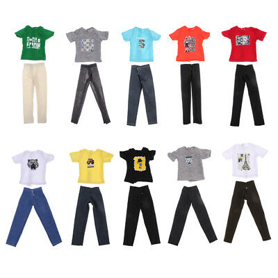 10 Sets Doll Clothes Casual Wear Suit Tops Pants Jeans For Barbie Ken Dolls