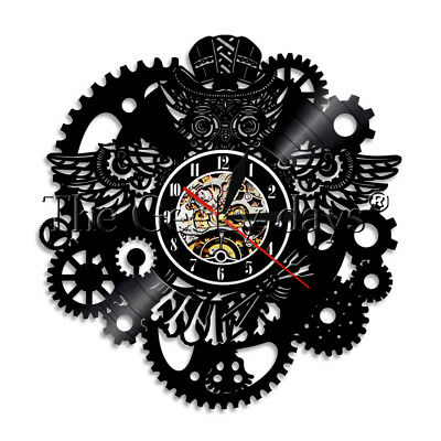Owl Wall Clock Wires Gears Owl With Hat Vinyl Record Wall Clock Steampunk Decor