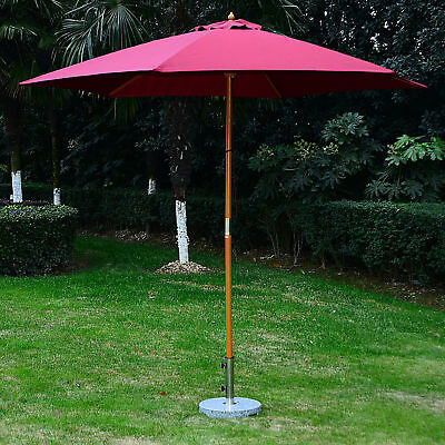 Summer Clearance ⌀9' x 8'H Patio Umbrella Wooden Round Sunshade Canopy