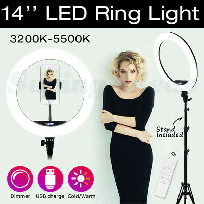 19'' Dimmable LED Ring Light 80W 5500K Diffuser Mirror Stand Make Up Studio &Bag