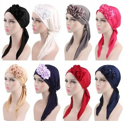 women flower Chemo Hat Turban Pre-Tied Headwear Bandana headscarf cap Beanie
