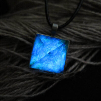 Glow in the Dark Pyramid Pendant Outer Space Star Necklace Triangle Geometric