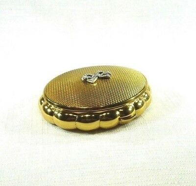 Vintage Estate KIGU Minuette Bow Gold Tone Metal Mirror Musical Compact