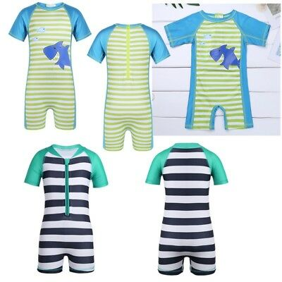 Boys Toddler Zippered Rash Guard Swimsuit Swimwear Striped Bathing Suit Beach