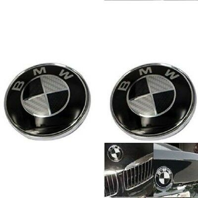 2pcs Replacement Carbon BMW Emblem 82mm For Front Hood Back Trunk logo Badge