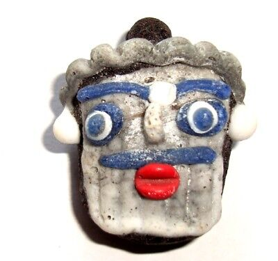 Ancient Style Phoenician Head Mosaic Bearded face Man Art Glass Bead Pendant 219