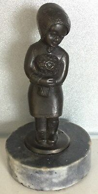 Antiques/ Vintage Very Pretty Small  Bronze Marble Figure Of Girl Signed