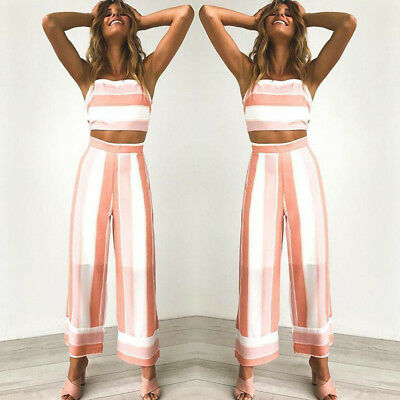 AU Women 2 Piece Outfits Sleeveless Stripe Crop Top Wide Leg Pant Set Jumpsuit