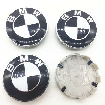 4pcs/set BMW Wheel Center Cap Badge Rim Center Emblem Caps Black 68mm