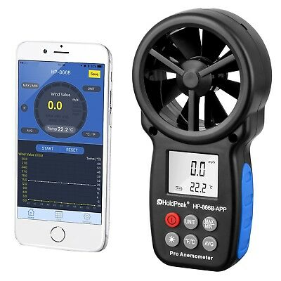 Digitales Flügelrad Anemometer Bluetooth HP-866B-APP Windmessgerät Windmesser