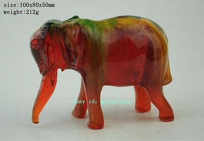 Chinese collectibles amber handwork carving lucky elephant shape statue old b02