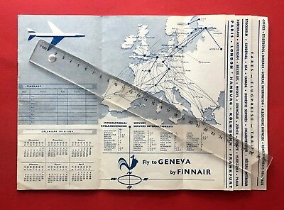 Winter Timetable Flugplan Fluggesellschaft FINNAIR 1959   ( F18239