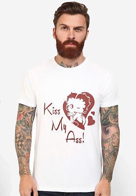 New 1Betty Boop Funny Heart kiss My 1ass Cartoon T-shirt Logo Design Tee Shirt