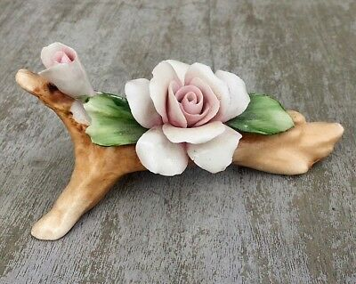Vintage CAPODIMONTE Pink Rose Flower Ornament