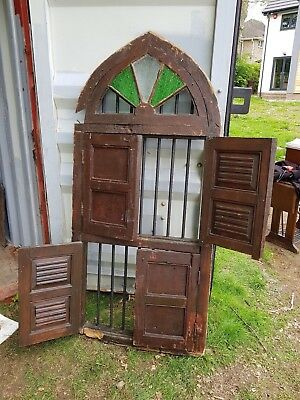 Vintage antique hard wood Teak Indian door/window 1900 mm x 840 mm