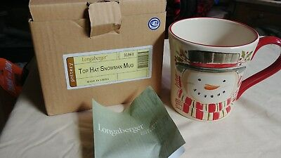 1 Longaberger Pottery Christmas Snowman Top Hat Coffee Tea Cup Mug New In Box