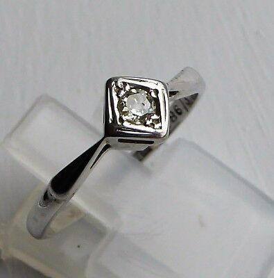 Antique Art Deco 18ct White Gold & Platinum 10 point Natural Diamond Solitaire R