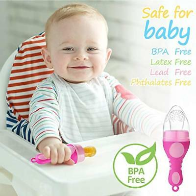 Baby Food Feeder Pacifier Ice Cream Shape Silicone Teether Soother Pink USA 6Mo+