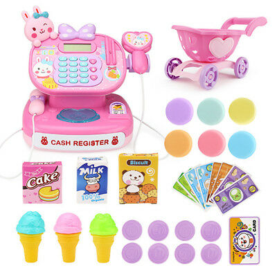 Kid Toy Pretend Play Supermarket Cash Register Shopping Game w Shopping Cart