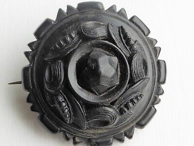 Large Ornate Antique Victorian Pressed Horn Faux Whitby Jet Mourning Brooch