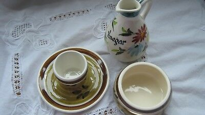 Toni Raymond Pottery Vinegar Jug/egg Separator/egg Cup With Attached Saucer